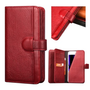UKADONIS UKF-L04 5.5 inch Universal Genuine Leather Wallet Case Cover for iPhone 8 Plus / 7 Plus / 6s Plus / 6 Plus Etc. - Red