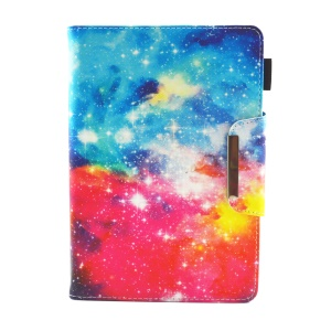 Patterned Universal 8-inch Tablet PU Leather Wallet Cover for Lenovo Tab 4 8, etc - Colorized Galaxy