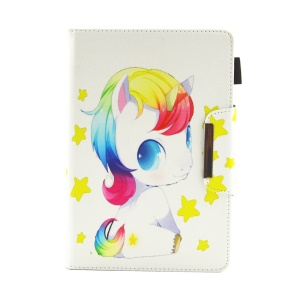 Patterned 10-inch Tablet Universal PU Leather Wallet Case for iPad 9.7 (2018) / Lenovo Tab 4 10 Plus etc - Unicorn and Stars
