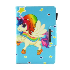Patterned 10-inch Tablet Universal PU Leather Wallet Case for iPad 9.7 (2018) / Lenovo Tab 4 10 Plus etc - Lovely Unicorn