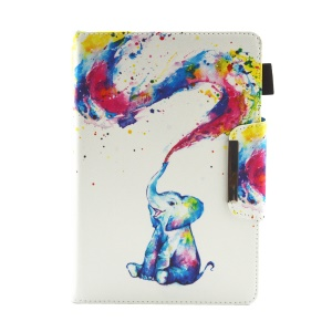 Patterned 10-inch Tablet Universal PU Leather Wallet Case for iPad 9.7 (2018) / Lenovo Tab 4 10 Plus etc - Naughty Elephant