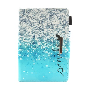 Patterned 10-inch Tablet Universal PU Leather Wallet Case for iPad 9.7 (2018) / Lenovo Tab 4 10 Plus etc - Blue Glitter Pattern