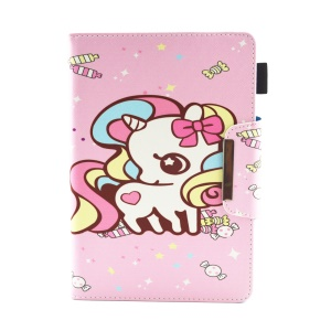 Patterned 10-inch Tablet Universal PU Leather Wallet Case for iPad 9.7 (2018) / Lenovo Tab 4 10 Plus etc - Unicorn with Bowknot