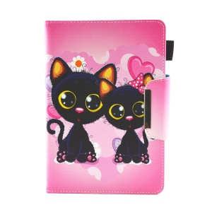 Patterned 10-inch Tablet Universal PU Leather Wallet Case for iPad 9.7 (2018) / Lenovo Tab 4 10 Plus etc - Two Adorable Cat