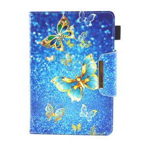Patterned 10-inch Tablet Universal PU Leather Wallet Case for iPad 9.7 (2018) / Lenovo Tab 4 10 Plus etc - Gold Butterflies