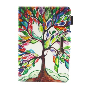 Patterned 10-inch Tablet Universal PU Leather Wallet Case for iPad 9.7 (2018) / Lenovo Tab 4 10 Plus etc - Colorful Tree