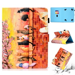 Patterned Universal 7-inch Tablet PU Leather Case with Card Holder for Huawei MediaPad T2 7.0 / Galaxy Tab 3 7.0 etc - Cats