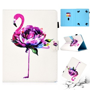 Patterned Universal 7-inch Tablet PU Leather Card Slots Case for Huawei MediaPad T2 7.0 / Galaxy Tab 3 7.0 etc - Flamingo