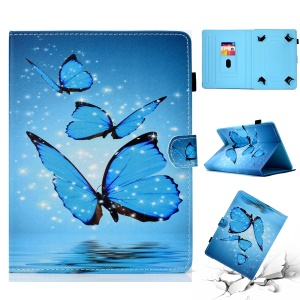 Patterned Universal 7-inch Tablet PU Leather Magnetic Flip Case for Huawei MediaPad T2 7.0 / Galaxy Tab 3 7.0 etc - Blue Butterfly