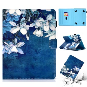 Patterned Universal 8-inch Tablet PU Leather Casing for Huawei MediaPad T3 8.0 / Samsung Galaxy Tab A 8.0 etc - Flower Style 1