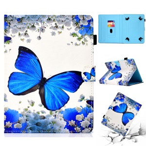 Patterned Universal 8-inch Tablet PU Leather Protective Case for Huawei MediaPad T3 8.0 / Samsung Galaxy Tab A 8.0 etc - Purple Butterfly
