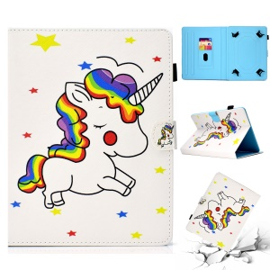 Patterned 10-inch Tablet Universal PU Leather Card Slots Cover for iPad 9.7 (2018) / Lenovo Tab 4 10 Plus etc - Unicorn and Stars
