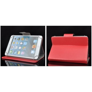Universal PU Leather Stand Tablet Protective Shell for Tablets, Size: Length: 245mm, Width: 135-145mm - Red