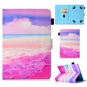 Patterned 10-inch Tablet Universal PU Leather Wallet Cover for iPad 9.7 (2018) / Lenovo Tab 4 10 Plus etc - Pink Sea