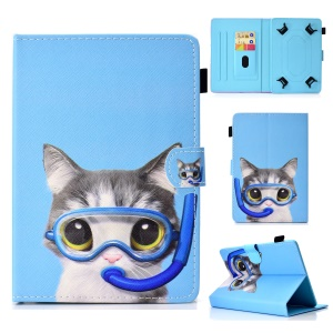 Patterned 10-inch Tablet Universal PU Leather Wallet Shell for iPad 9.7 (2018) / Lenovo Tab 4 10 Plus etc - Diving Cat
