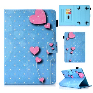 Patterned 10-inch Tablet Universal PU Leather Wallet Mobile Phone Cover for iPad 9.7 (2018) / Lenovo Tab 4 10 Plus etc - Hearts