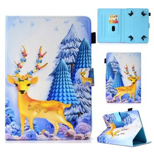 Pattern Printing Universal Leather Stand Cover with Card Slots for 7-inch Tablet PC - Deer and Tree
