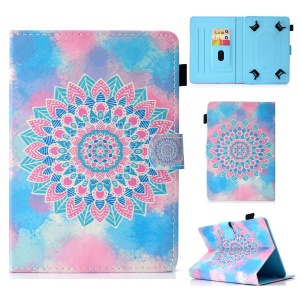 Pattern Printing Universal Magnetic Leather Stand Cover for 7-inch Tablet PC - Colorized Flower