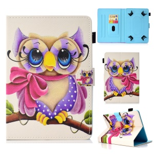 Pattern Printing Universal PU Leather Stand Case with Card Slots for 7-inch Tablet PC - Owl with Bowknot