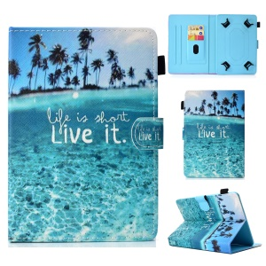 Pattern Printing Universal Leather Card Holder Case with Stand for 7-inch Tablet PC - Quote and Coconut Tree