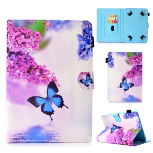 Pattern Printing Universal Stand Leather Protection Case for 7-inch Tablet PC - Blue Butterfly