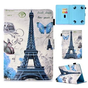 Pattern Printing Universal Leather Case with Stand and Card Slots for 7-inch Tablet PC - Flowers and Eiffel Tower