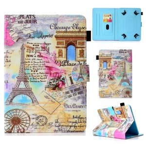 Universal Pattern Printing Leather Stand Case with Card Slots for 7-inch Tablet PC - Triumphal Arch and Eiffel Tower