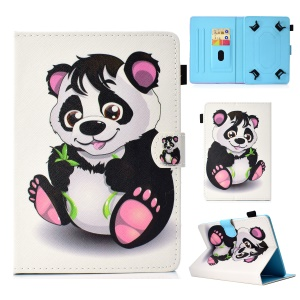 Pattern Printing Universal Leather Stand Cover Shell Case with Card Slots for 7-inch Tablet PC - Panda