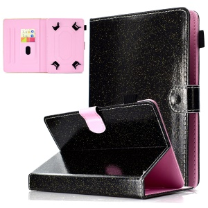 Flash Powder Decorated Universal Leather Stand Case with Card Slots for 10-inch Tablet PC - Black