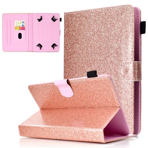 Universal Flash Powder Decorated Leather Card Holder Case for 10-inch Tablet PC - Rose Gold