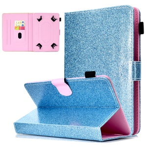 Flash Powder Decorated Universal Leather Case with Stand and Card Slots for 10-inch Tablet PC - Blue