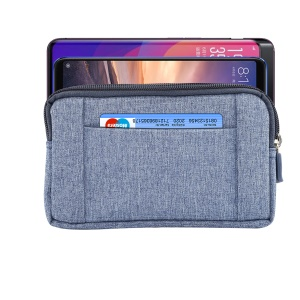 6.4 Inch Outdoor Tactical Molle Jeans Cloth Pouch Waist Pack Utility Gadget Phone Bag - Blue
