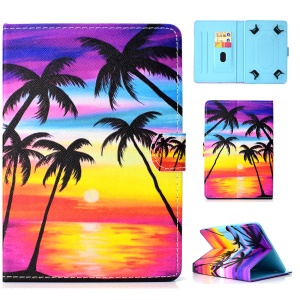 Universal 10-inch Tablet Patterned PU Leather Card Holder Case for iPad 9.7 (2018) / LG G Pad III etc - Charming Sea Side