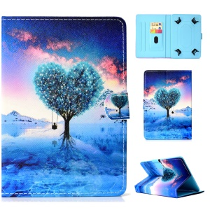 Universal 8-inch Tablet Patterned PU Leather Stand Protective Case for iPad mini 5 / Lenovo Tab 4 8 etc - Heart Shape Tree