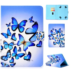 Pattern Printing Universal Leather Stand Case with Card Slots for 7-inch Tablet PC - Blue Butterfly