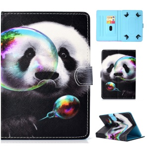 Pattern Printing Universal Leather Stand Cover Case with Card Slots for 7-inch Tablet PC - Panda Playing Bubble