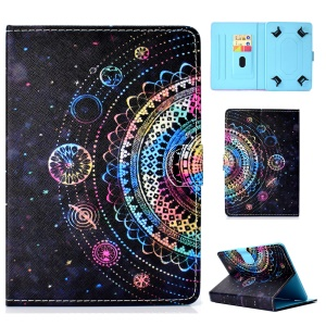 Pattern Printing Universal Leather Cover Shell Case with Card Slots for 7-inch Tablet PC - Multi-color Mandala Flower