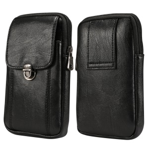 Litchi Texture PU Leather Vertical Zippered Holster Pouch Case with Belt Hole for iPhone XS / Samsung Note9, Size: 17 x 9.5cm - Size: S / Black