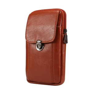 Universal Litchi Texture PU Leather Vertical Zippered Holster Pouch Case with Belt Hole for iPhone XS / Samsung Note9, Size: 17 x 9.5cm - Size: S / Brown