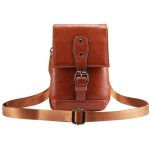 Universal Litchi Texture PU Leather Vertical Holster Shoulder Bag Pouch Case with Belt Loop for iPhone XS Max / XS / Samsung Galaxy S9 / S8, Size: 18 x 12.5cm - Brown