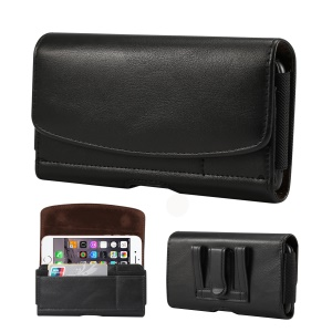 4.8 inch PU Leather Holster Pouch Case for iPhone 8, Size: 14.3 x 7.5 x 1.8cm - Black