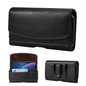 5.8 inch PU Leather Holster Case for iPhone XS, Size: 15.5 x 8 x 1.8cm - Black