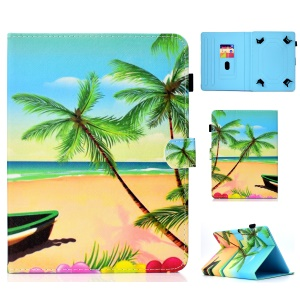 Pattern Printing Universal Leather Card Holder Case for 10-inch Tablet PC - Coconut Tree