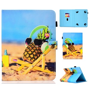 Pattern Printing Universal Leather Stand Case with Card Slots for 10-inch Tablet PC - Pineapple