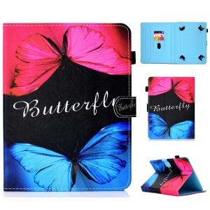 Pattern Printing Universal Leather Stand Cover with Card Slots for 10-inch Tablet PC - Vivid Butterflies
