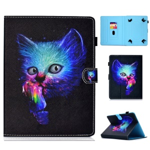 Pattern Printing Universal Magnetic Leather Card Holder Case for 10-inch Tablet PC - Cat