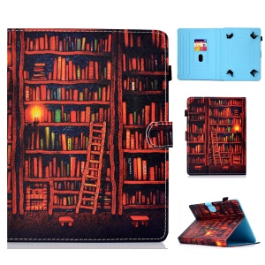 Pattern Printing Universal Magnetic Leather Stand Cover for 10-inch Tablet PC - Books