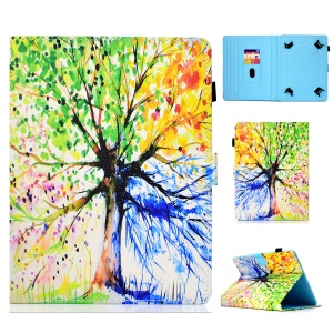 Patterned Universal Leather Card Holder Case for 10-inch Tablet PC - Colorized Tree