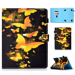 Pattern Printing Universal Magnetic Leather Case with Stand for 10-inch Tablet PC - Gold Butterflies