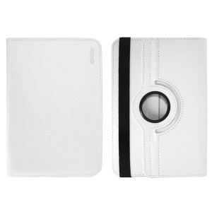 ENKAY Litchi Skin 360 Degree Rotary Leather Cover for 7 inch Tablet - White